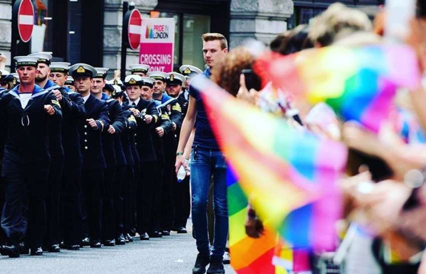 The Royal Navy marches at Pride in London