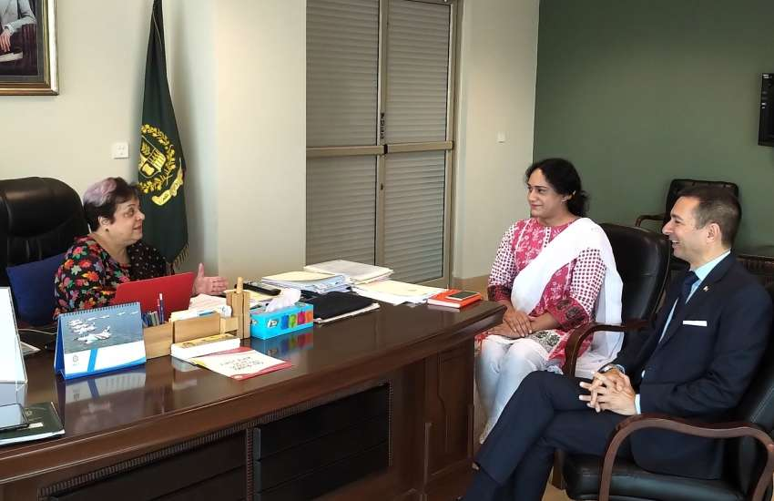 Dr Shireen Mazari with her new trans employee