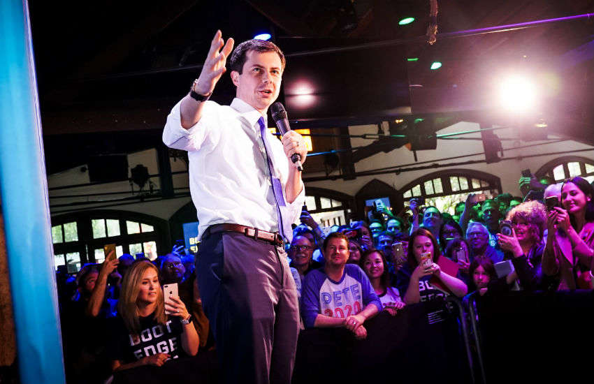 Pete Buttigieg on stage at The Abbey in West Hollywood, 9 May 2019
