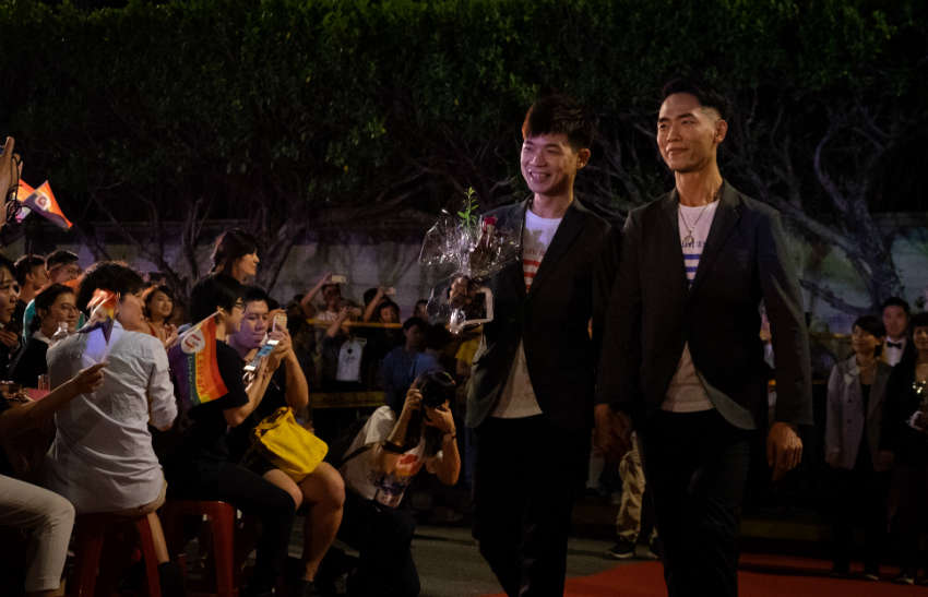 Same-sex couples hold a mass wedding ceremony in Taipei, Taiwan (Photo: Gay Star News)