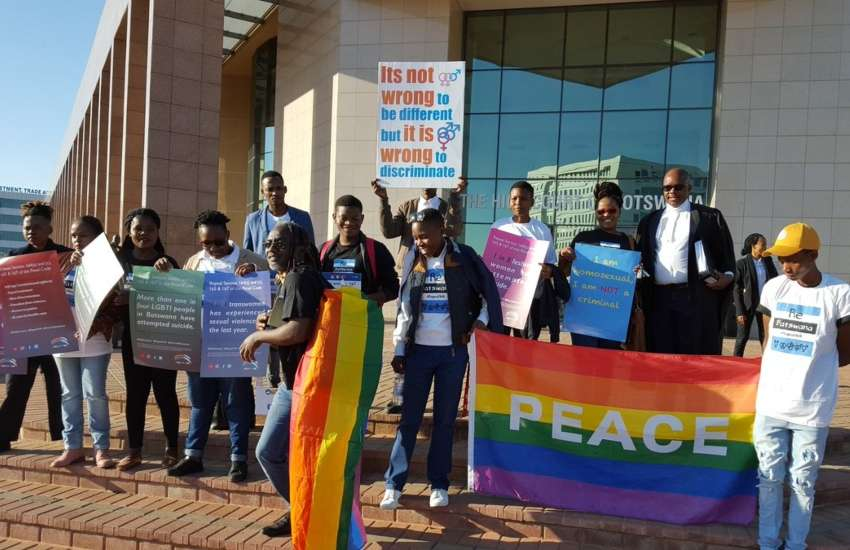 LGBTI advocates outside Botswana's High Court | Photo: Twitter/SALC