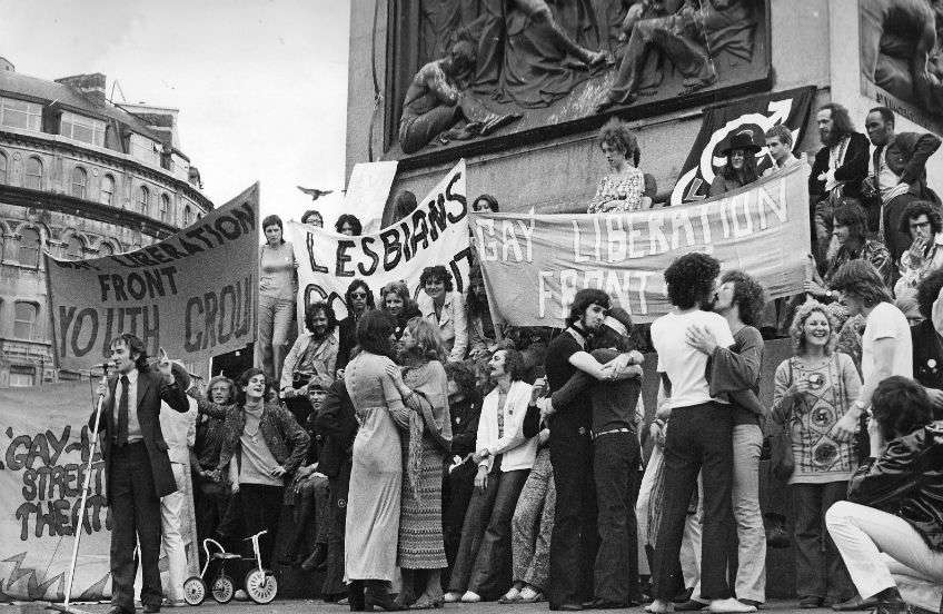 The first major Pride protest in the UK, held in London in 1971 | Photo: Supplied