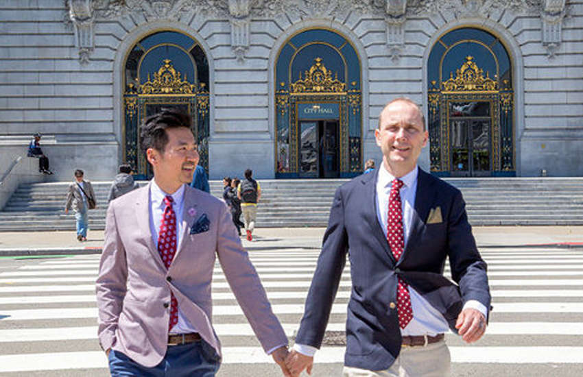 Hanscom Smith made headlines in 2016 when he married his Taiwanese boyfriend (Photo: Weibo)
