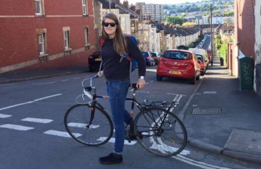 Natalie Lewendon with a bicycle