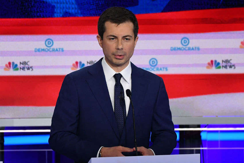 Pete Buttigieg at the Democratic Debates in Miami | Photo: NBC