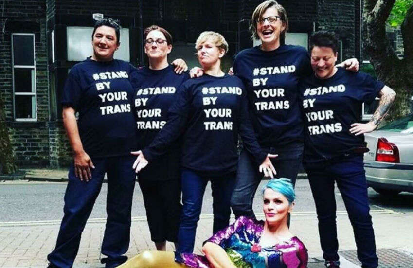 Manchester Lesbians group with t-shirts saying 'Stand By Your Trans' | Photo: Mermaids/Twitter
