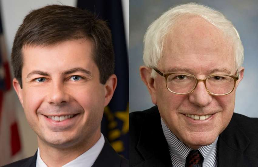 On voting day, there will be an over 40 years between the youngest and oldest Democratic presidential candidates, Pete Buttiegeg (left) and Bernie Sanders |