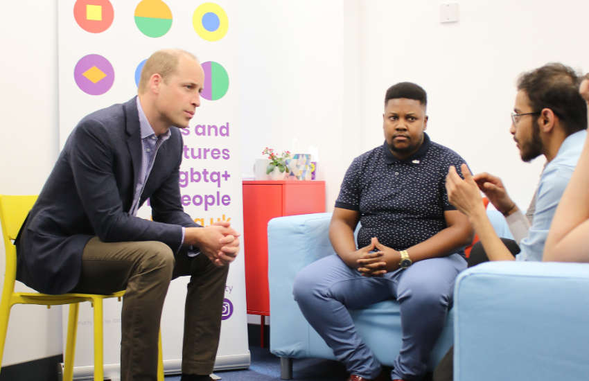 Prince William chatting to akt young ambassadors