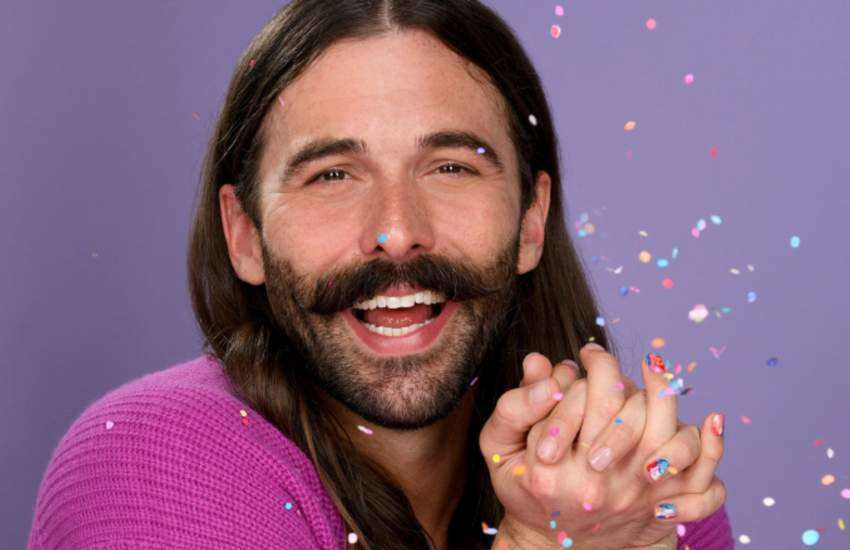 Jonathan Van Ness sporting a rainbow mosaic mani. | Photo: Courtesy of Essie
