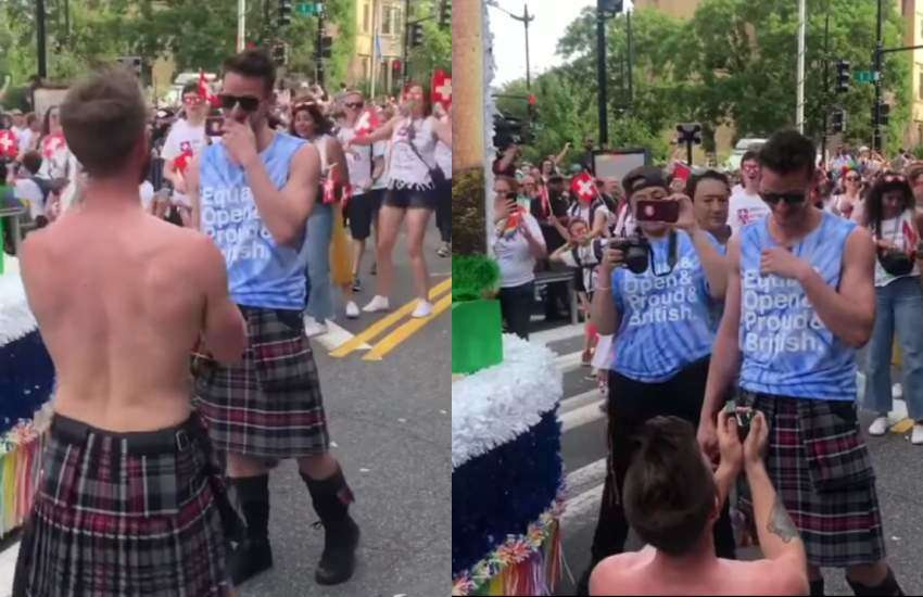 Kilted yoga teacher Finlay Wilson and his boyfriend Alan at Capital Pride. | Screengrabs: Facebook