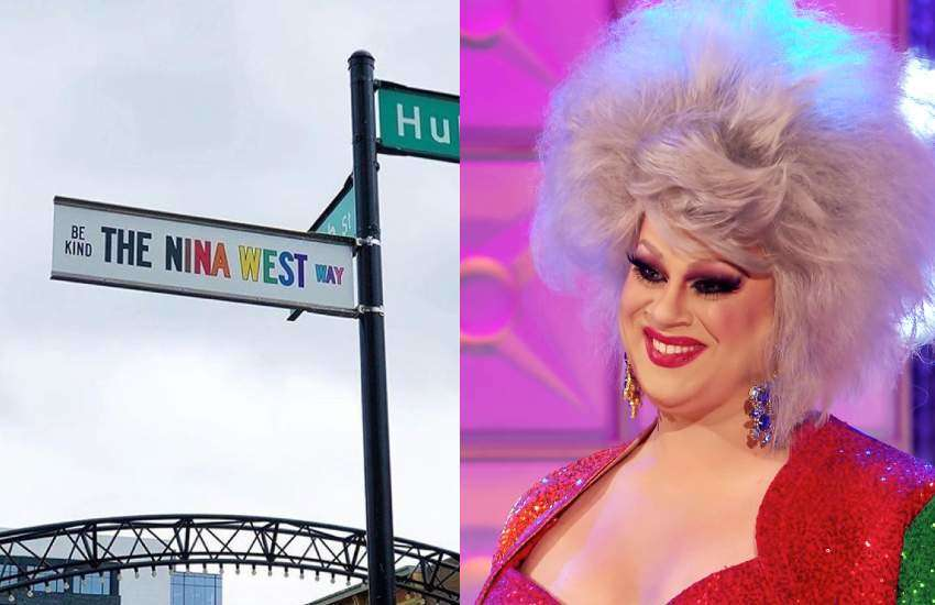 Two pictures, one of Nina West and another of the street sign bearing her name.