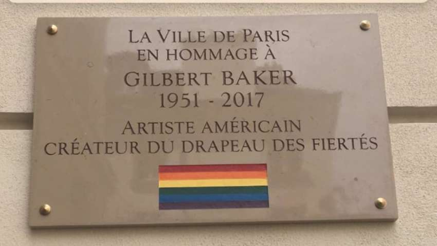 The plaque commemorating Gilbert Baker in Paris