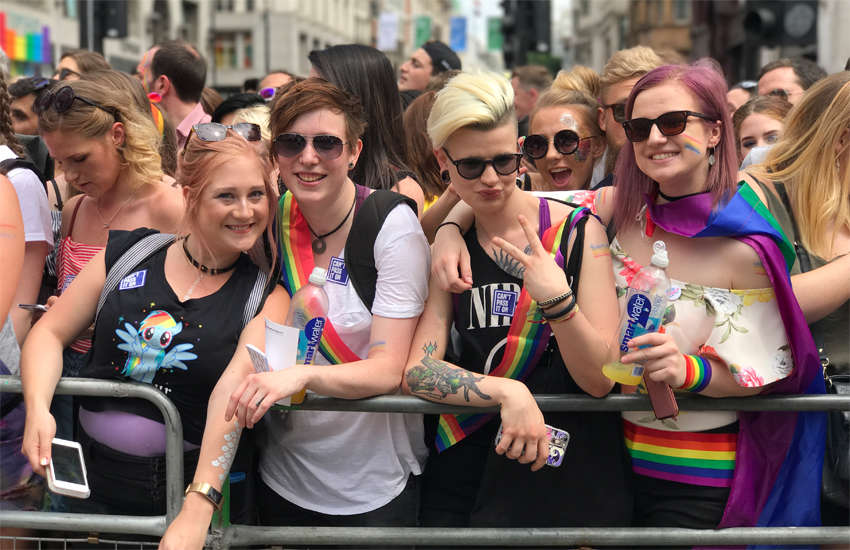 Women at Pride London in 2017
