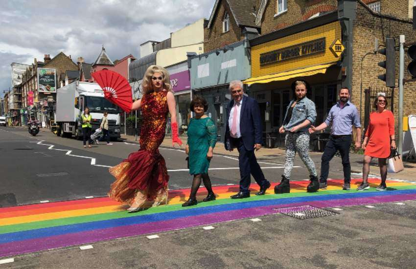 Rainbow zebra crossing in Wimbledon, London.