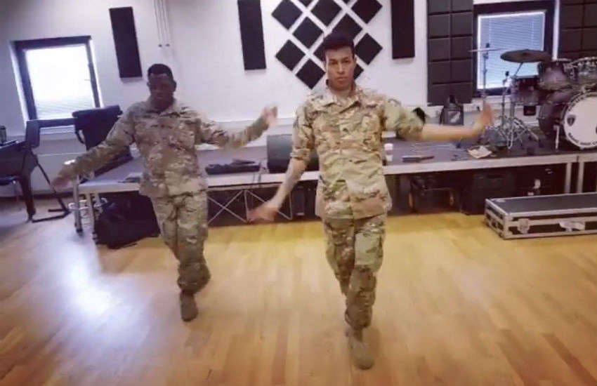 The soldiers recreate Todrick Hall's Nails Hair Hips Heels routine