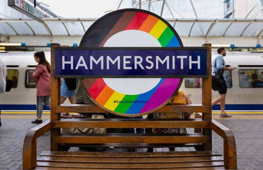 TfL The LGBTI Pride flag, replete with black and brown stripes, roundel at Hammersmith station | Picture: Transport for London