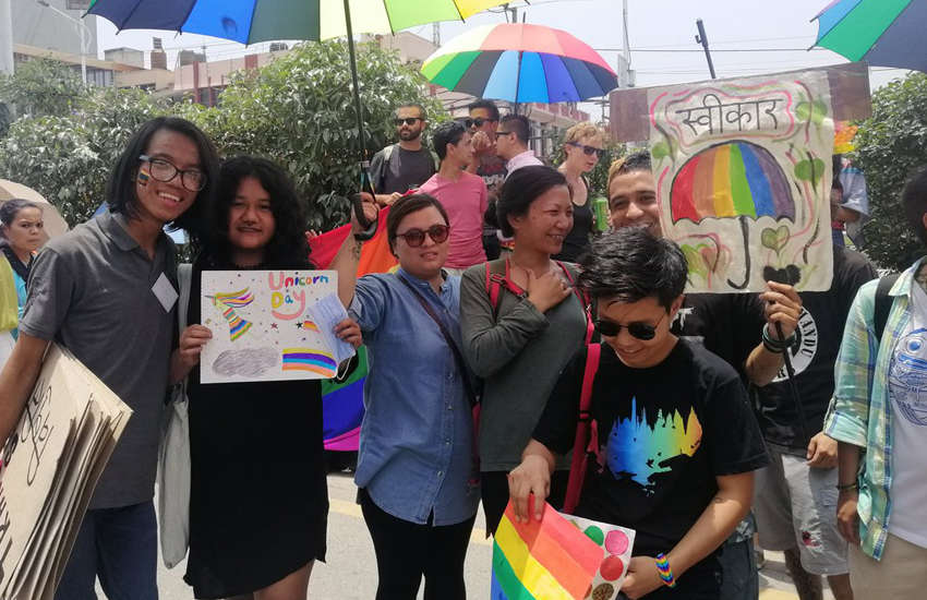 Attendees of the first pride parade in the capital of Nepal Kathmandu (Photo Queer Youth Group)