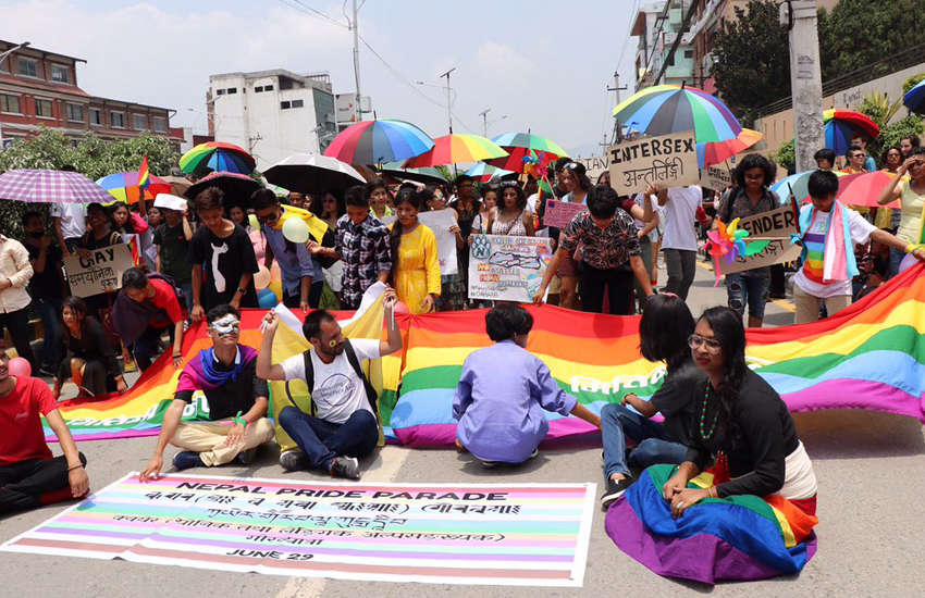 Attendees of the first pride parade in the capital of Nepal Kathmandu. (Photo: Queer Youth Group)