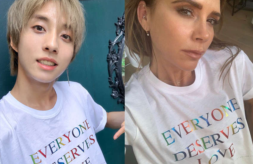 Gay K-Pop star Holland wearing Pride T-shirt by ex-Spice Girl Victoria Beckham (Photo: Twitter)