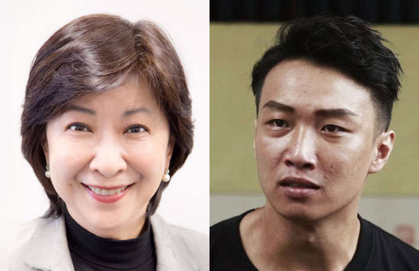 Hong Kong lawmaker Ann Chiang (left) and protest leader Jimmy Sham (right). (Photo: Facebook)