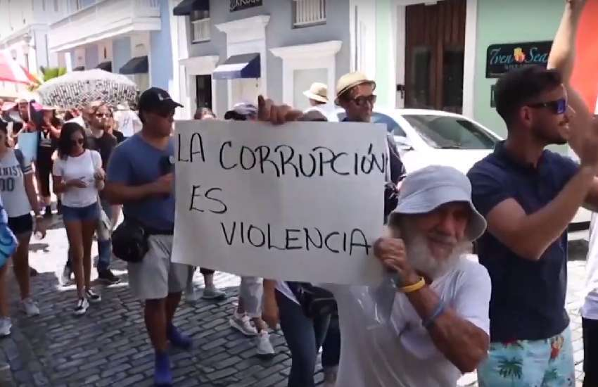 People protest Puerto Rico's governor