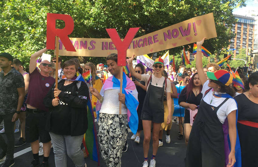 RainbowYOUTH marching for transgender healthcare in a pride parade (Photo: Facebook)