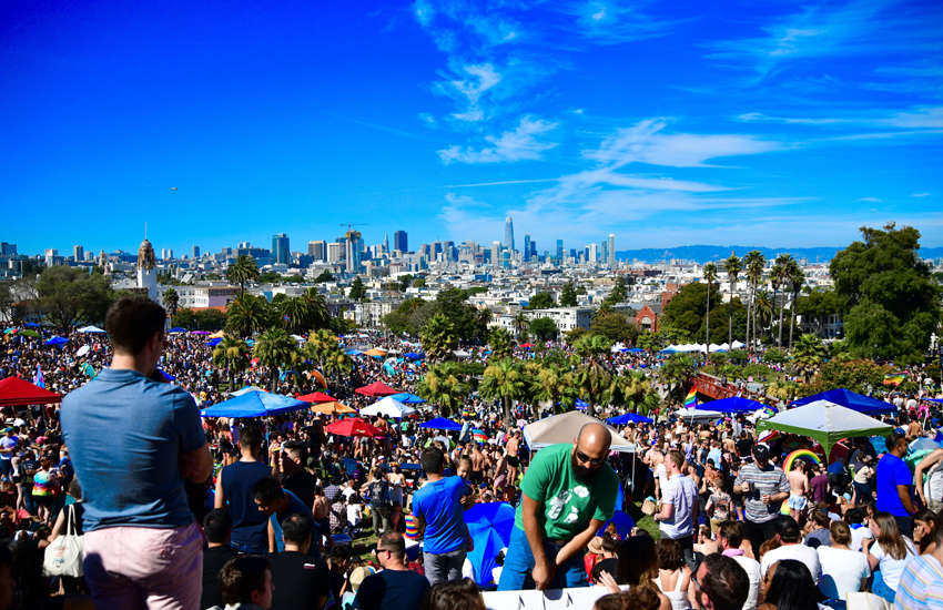 Dolores Park with the San Francisco skyline. Dolores Park was the place to be Saturday, this was the launching point for the Dyke March. (Photo: Megan Williams)