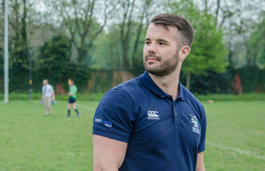 Former Australian Team Bobsledder Simon Dunn on a rugby pitch