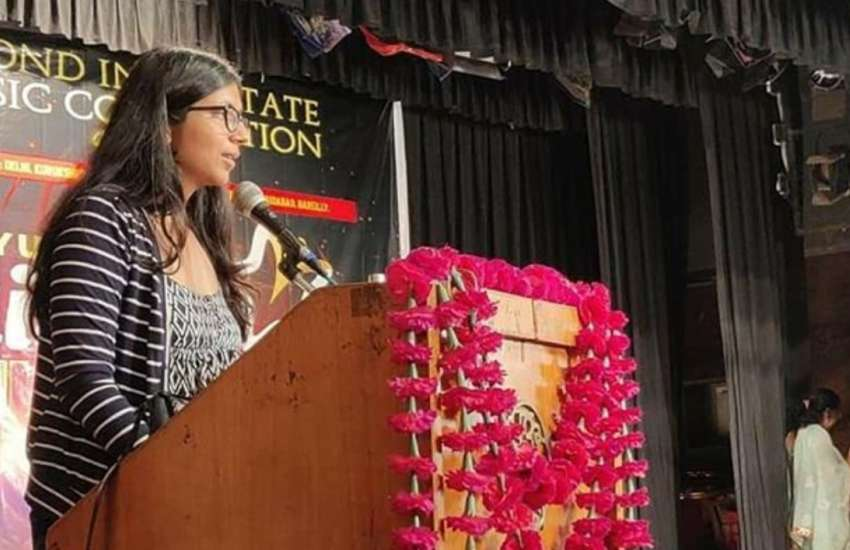 DWC chairperson Swati Maliwal speaking at a Satyuga Darshan Trust event | Picture: Instagram (@swati_maliwal)