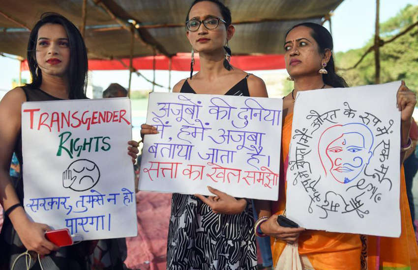 Trans Indians protest the transgender rights bill (Photo: Twitter)