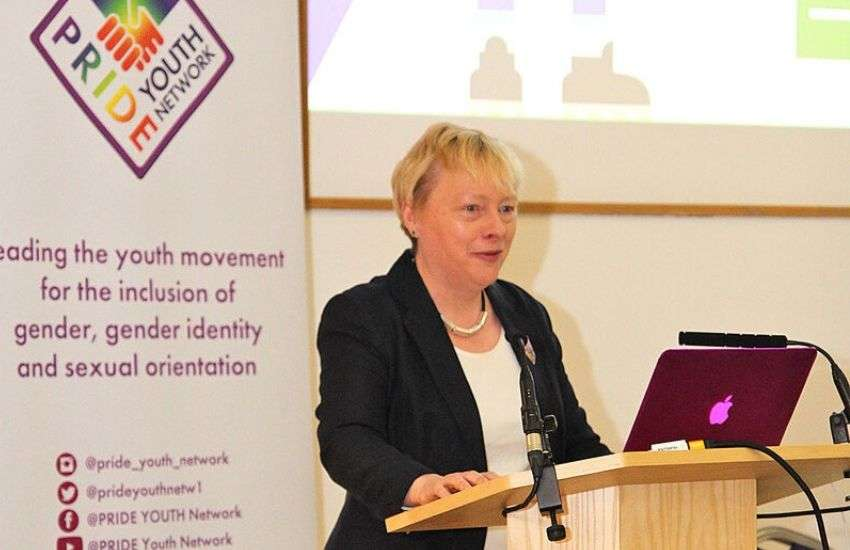 Angela Eagle, Labour MP, addressed a packed hall of young LGBTI Brits | Picture: Tom Dingley