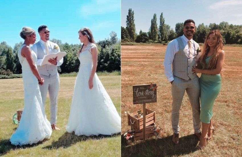 Anthony Ogogo officiates the wedding of his sister 'a la, Joey [from Friends] | Pictures: Both from Twitter (@AnthonyOgogo)