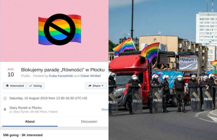 A Facebook event page detailing the next planned protest (left) following a potent Pride in Poland last weekend | Picture: Facebook / Twitter (K. Kadziewicz)