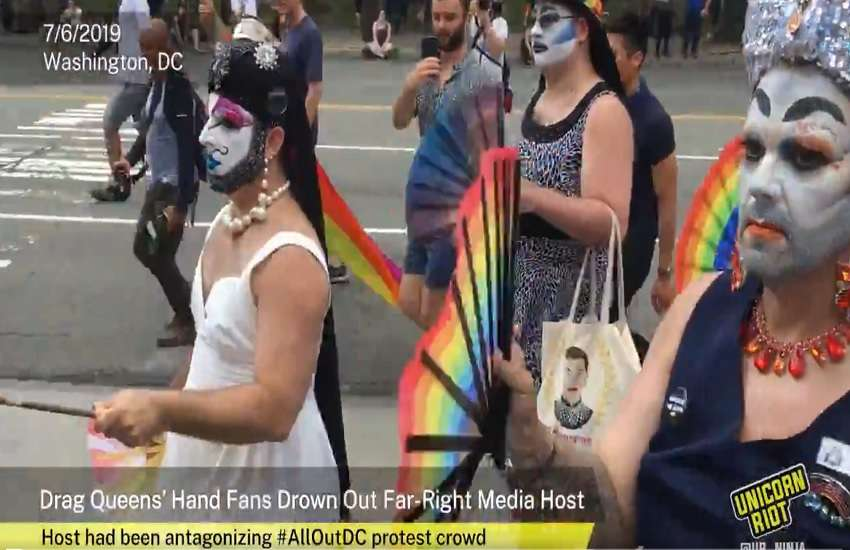Drag queens use hand fans to drown out Proud Boy hatred at the #AllOutDC rally