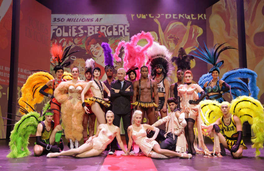 Jean Paul Gaultier surrounded by cast members from his Fashion Freak Show