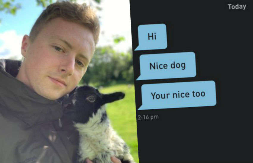 Charli and one of his lambs - and the Grindr message