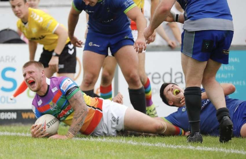 Rugby team Keighley Cougars celebrated Pride with a special rainbow game