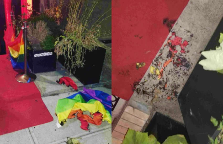 A Pride flag was found by staff crinkled and in ashes outside a New York City bar | Picture: Instagram (@alibiharlem)