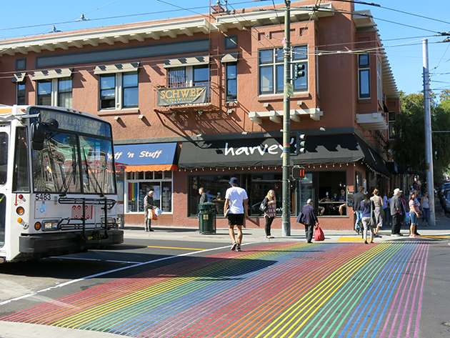 Rainbow crossing in The Castro, San Francisco.