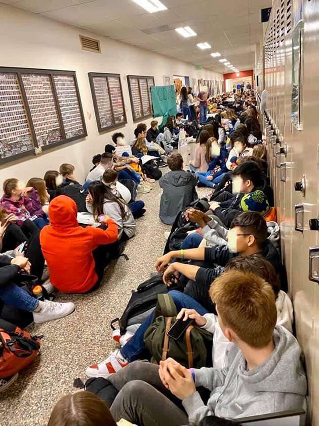 Students staging a sit-in at Kennedy High School.