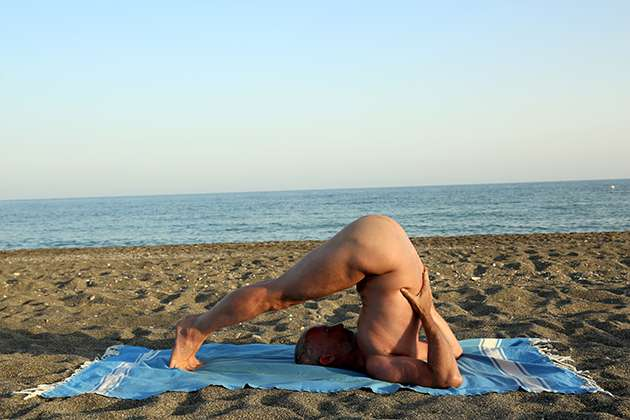 Nickles of Altogether Yoga on the beach.