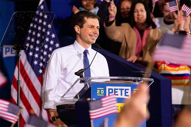 Pete Buttigieg announcing he's running for president in April 2019.