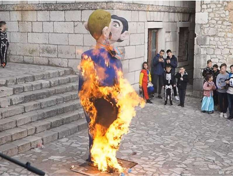 Effigy of same-sex couple on fire in Croatia.