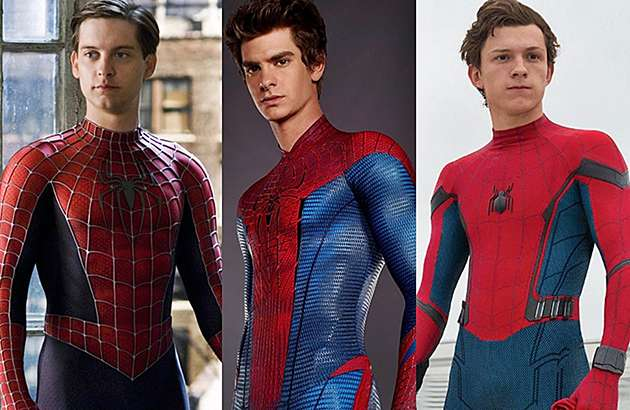 Tobey Maguire, Andrew Garfield and Tom Holland as Spider-Man.