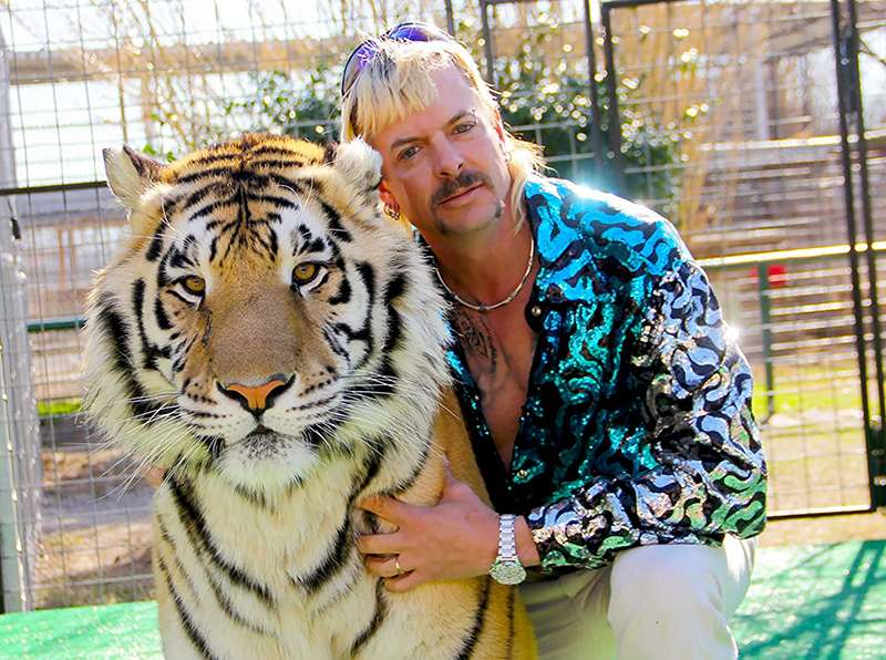 Joe Exotic with a tiger.