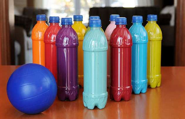Plastic bottles made into a bowling set.