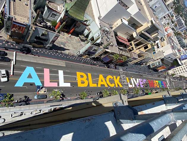 All Black Lives Matter written on Hollywood Boulevard.