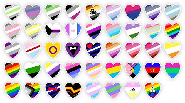 Rainbow flag love hearts.