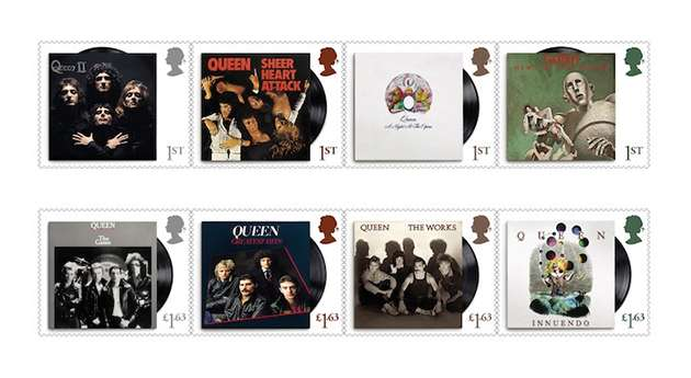 Royal Mail stamps honoring Queen's album covers.