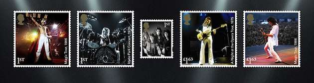 Stamps showing Queen live in concert.